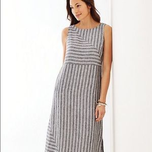 JJill gray striped linen dress with pockets